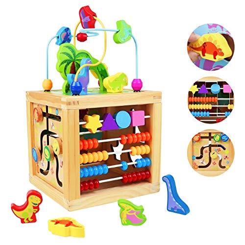 Cubo Attività Legno Bambino 5 in 1 -Giochi Montessori 1 2 Anno Dinosauro Cubo con Labirinti di Perline Tavolino Multiattivita Bambini Educativi Multifunzione Giocattolo Regalo per 1 2 3 4 Anni Bambino