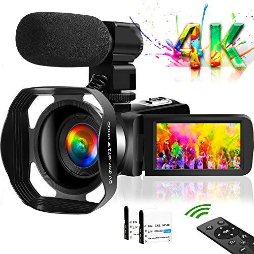 ビデオカメラ4K VlogカメラWIFI機能 48MP 18倍ズーム タッチスクリーン暗視機能 360°遠隔操作 六国語説明書
