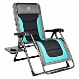 EVER ADVANCED Oversize XL Zero Gravity Recliner Padded Patio Lounger Chair with Adjustable Headrest Support 350lbs (Green)