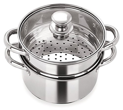 Pristine Stainless Steel Induction Base Tri Ply 2 Tier Multi Purpose Steamer/Modak Maker with Glass...
