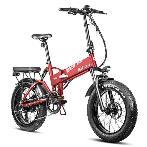 Eahora X7 500W 20' Fat Tires Electric Bike, Folding Electric Bike, Electric Bike for Adults EBikes with Removable 48V Lithium-ion Battery, Shimano 7-Speed Gear Shifts