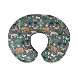 Boppy Nursing Pillow and Positioner—Original   Green Forest Animals   Breastfeeding, Bottle Feeding, Baby Support   With Removable Cotton Blend Cover   Awake-Time Support