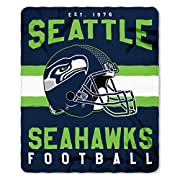 "Features NFL team's helmet and logo in the center between team name and established date; background has horizontal stripes behind a helmet Whipstitch around all edges; soft, warm fleece Measures 50""W x 60""L Machine wash cold separately using delicat..."
