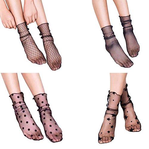 TinkSky Donne puro Slouch calze Sexy calze a rete maglia calzini Slouch per medicazione 4 paia,...