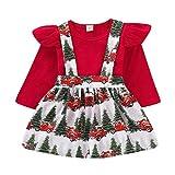 Xmas gift Toddler Baby Girls Christmas Dress Kid Baby Girls Ruffle Long Sleeve Tops + Christmas Tree Suspender Skirt Outfit (Toddler Baby Girls Christmas Playwear, 3-4 T)