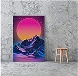 Tela De Lienzo 60x80cm Sin Marco Vaporwave arte paisaje lienzo póster pintura sala de estar dormitorio estudio decoración del hogar impresiones