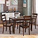 P PURLOVE 5 Piece Dining Table Set Wood Dining Room Table and 4 Chairs Retro Style Kitchen Table Set for 4 Persons, Brown