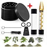 Glass Tube Kit with Herb Grinder for Herbs and Spices with 2 x Glass bottle 4 x O-Rings 2 x Rubber Caps 2 x Cleaning Brush 1 x Packing Box