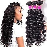 RECOOL 10A Brazilian Hair Loose Deep Wave Bundles 100% Human Hair Extensions Wet and Wavy Virgin Hair Deals Braiding Hair Natural Color Thick Bundles(16 18 20)