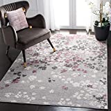 Safavieh Adirondack Collection ADR115M Light Grey and Purple Contemporary Floral Area Rug (5'1' x 7'6')