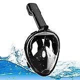 Masque de Plongée Intégral Pliable 180°Visible Masque Snorkeling avec Technologie Anti-Buée et Anti-Fuite Masque Snorkeling Plein Visage Compatible avec la Support pour Caméra de Sport Noir S/M