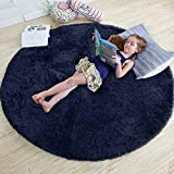 Navy Blue Rug for Bedroom,Fluffy Circle Rug 4'X4' for Kids Room,Furry Carpet for Teen's Room,Shaggy Throw Rug for Nursery Room,Fuzzy Plush Rug for Dorm,Indigo Carpet,Cute Room Decor for Baby