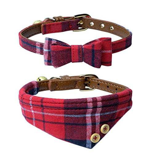 Dog Cat Collars Leather for Small Pet Adjustable Bow-tie and Scarf Puppy Collars with Bell Cute Plaid Bandana Dog Collar(2 Pack) (red Plaid)