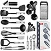 Kitchen Utensil set - 24 Nylon Stainless Steel Cooking Supplies - Non-Stick and Heat Resistant Cookware set - New Chef's Kitchen Gadget Tools Collection - Best for Pots and Pans - Great Holiday Gift