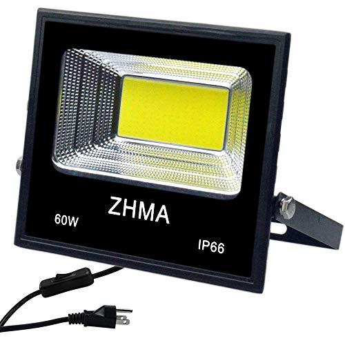 60W LED Flood Light Waterproof Outdoor Lights, ZHMA Super Bright Work Light with Plug & Switch, Security Landscape Light Fixture for Garage, Garden, Backyard. 5400lm, 6500K White Light Spotlight