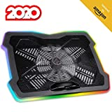 KLIM Ultimate + RGB Laptop Cooling Pad with LED Rim + Gaming Laptop Cooler + USB Powered Fan + Very Stable and Silent Laptop Stand + Compatible up to 17' + for PC Mac PS4 Xbox One + New 2020