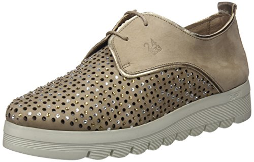 24 HORAS 23574, Zapatos de Cordones Oxford para Mujer, Beige (Taupe 10), 41 EU