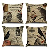 RUOAR Pack of 4 Vintage Halloween Thanksgiving Pillow Case for Owl/Crow/Pumpkin/Skull Throw Pillow Covers Halloween Cushion Covers 18 x 18 inch Home Decoration