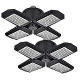 2 Pack LED Garage Lights, 80W Deformable LED Garage Ceiling Lights with 4 Adjustable Panels, 8000LM E26 LED Shop Lights for Garage, Basement, Barn, High Bay Light (Black, 2PACK)