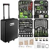 TecTake Maletín con herramientas de aluminio con 899pc piezas maleta trolley caja   Mango telescópico   Ruedas de fácil desplazamiento