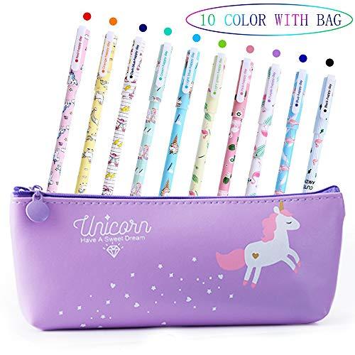 Penne per Unicorno Ragazze Regalo di Compleanno per Bambine, VSTON Simpatiche penne per unicorno Set per penne a Sfera Lattine per Matite Colorate per Bambini Et 3 4 5 6 7 8 9 10 Anni, 10 Pz