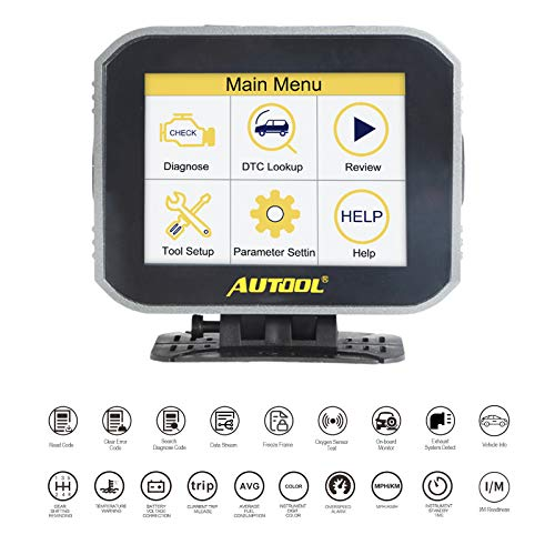 AUTOOL 2 in 1 OBD II Scanner Engine Fault Code Reader CAN Diagnostic Scan Tool,Car HUD Head Up Display Digital Speedometer with Speedup Brake Test Overspeed Alarm for All Vehicle
