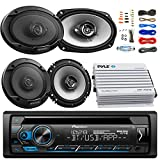 Pioneer DEH-X4900BT Car Bluetooth Radio USB AUX CD Player Receiver - Bundle Combo With 2x Kenwood 6.5' 2-Way Black Car Coaxial Speakers + 2x 6x9' Inch 3-Way Speaker + 4-Channel Amplifier + Amp Kit
