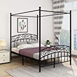 JURMERRY Full Size Metal Canopy Bed Frame with Ornate European Style Headboard & Footboard Sturdy Black Steel Holds 660lbs Perfectly Fits Your Mattress Easy DIY Assembly All Parts Included