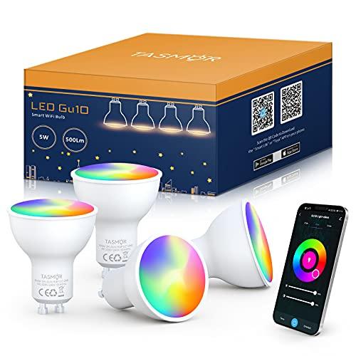 Bombilla LED Inteligente GU10, TASMOR Bombilla LED WIFI 5W Equivalente 50W, Luces Regulables Multicolores RGBW( 2700K-6500K) , Bombilla LED Alexa GU10 Funciona con Alexa, Google...