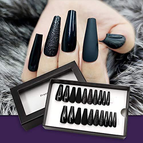 Lady Press on Nails Black Stitching Coffin False Nails Natural Full Nail Tip 20Pcs/Box