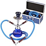Bulentini Shisha de Viaje con maletín, Aprox. 28 cm, Color Azul, Pipa de Agua con 2 mangueras, Incluye Cabezal, Juntas, Pinzas de carbón