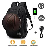 Laptop Backpack for Men Boys, Lightweight Water Resistant College Basketball Backpack with USB Charging Port and Headphone Port, Sports Computer Bag Fits 15.6 inch Notebook and Tablet Black