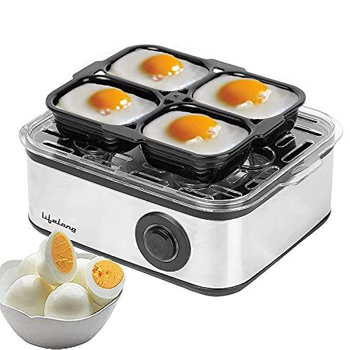 Lifelong 2-in1 Egg Boiler and Poacher 500-Watt (Transparent and Silver Grey), Boil 8 eggs, Poach 4...