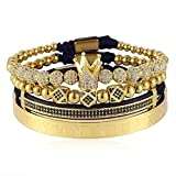 Guchao Imperial Crown King 18 K Gold Beads Bracelet Luxury Charm Fashion Jewelry For Men Women (GOLD)