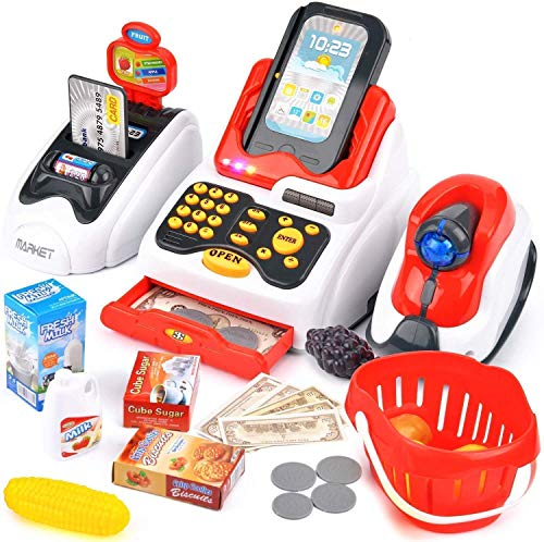Tabu toys World Toy Cash Register for Kids with Checkout Scanner,Card Reader, Credit Card Machine, Play Money and Food Shopping Play Set,Plastic,Multi color,Pack of 1 set