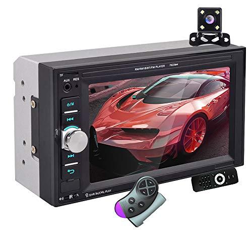 Autoradio 2 DIN - Bluetooth Auto Stereo Lettori Video Integrati nel Cruscotto, 7 Pollici Touch Screen Car Radio con Telecamera Posteriore, Mirror Link, USB, AUX, TF Card, Controllo del Volante