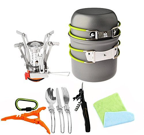 Bisgear 12pcs Camping Cookware Stove Canister Stand Tripod...
