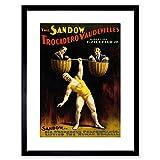The Art Stop AD Circus Vaudeville Sandow Strong Man Dumbell Framed Print F97X2163