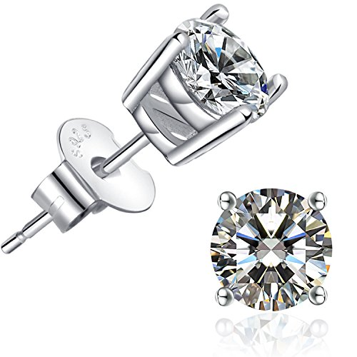 Brilliant Cut CZ stud earrings  18K White Gold Plated Stud Earrings for Women Men Ear Piercing Earrings Cubic Zirconia Inlaid,4mm,5mm,6mm,7mm Available