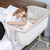 Baby Bassinet Bedside Sleeper, BABLE Bassinet for Baby, Bedside Sleeper for Baby Newborn, Bassinet Portable Crib Baby Bed with Wheels, 6 Height Adjustable Bassinet for Baby Boy Girl
