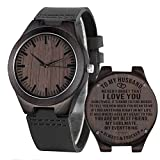Engraved Mens Wooden Watch Personalized Leather Watches for Husband...