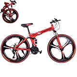 PUTEARDAT 26 inch Mountain Bike Shimanos Folding Bikes for Men Womans 21 Speed Full Suspension Disc Brakes Beach Cruiser Bicycles Trek MTB (Red)