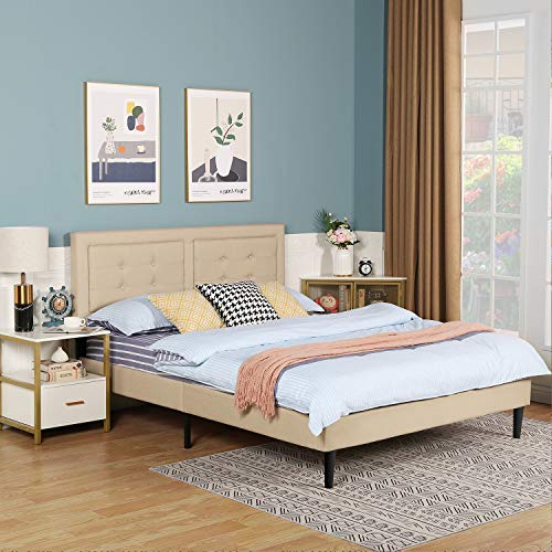 VECELO Upholstered Platform Bed Frame with Height Adjustable Headboard/Mattress Foundation with Strong Slat Support, Easy Assembly (Queen, Beige)