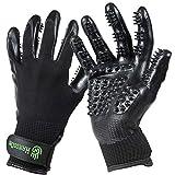 Handson Pet Grooming Gloves - #1 Ranked, Award Winning Shedding, Bathing, Hair Remover Gloves - Gentle Brush for Cats, Dogs, and Horses (Black, Medium)