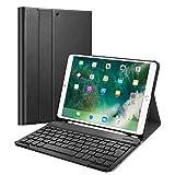 FINTIE Coque Clavier pour iPad Air 3 10.5' 2019 / iPad Pro 10.5' 2017 [AZERTY] - Etui Housse SlimShell avec Porte-Crayon, Clavier Bluetooth sans Fil Détachable Magnétiquement, Noir