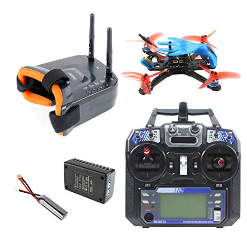 QWinOut Featherbird-135 Brushless FPV Racing Drone 2S 135mm DIY RC Quadcopter FPV Goggles RTF with MiniF4 FC Flysky FS I6 Remote Controller (Blue)