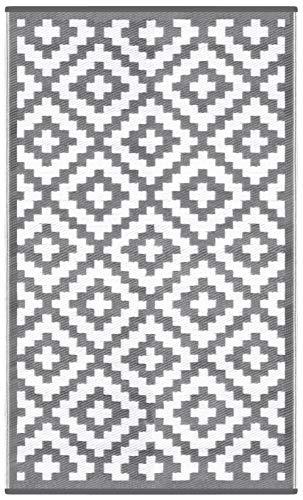 Green Decore Wendbarer Öko-Teppich aus recyceltem Kunststoff (Plastik) für Innen und Außen/Federleicht - 90 x 150 cm Grau/weiß
