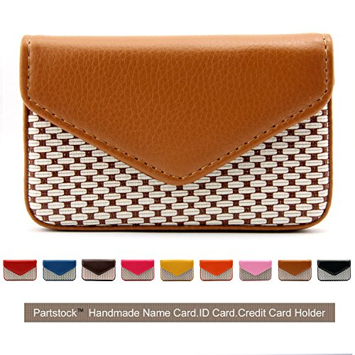 Partstock Multipurpose PU Leather Business Name Card Holder Wallet Leather Credit card ID Case / Holder / Cards Case with Magnetic Shut.Perfect Gift - Kaki