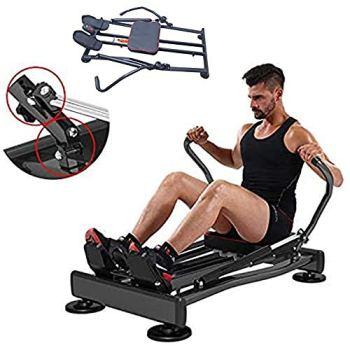 Ffitness FLMD412N Rameur Professionnel pour entraînement à la Maison, résistance hydraulique Fitness Cardio Total Body Trainer Crunch, Noir, Taille Unique