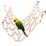Bird Hemp Rope Net Swing,Parrot Perch Climbing Rope Ladder,Hammock Hanging on Parakeet Cage wiht 2 Hooks,Chew Toys for Greys Cockatoo,Cockatiel,Conure,Lovebirds,Canaries,Little Macaw 13.8' x 23.6'